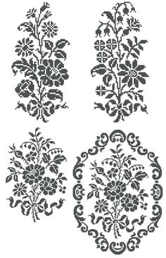 free filet crochet patterns to print | ... floral patterns, perfect for cross stitch, and filet crochet
