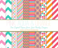 Free Pink, Aqua and Orange Digital Paper Set