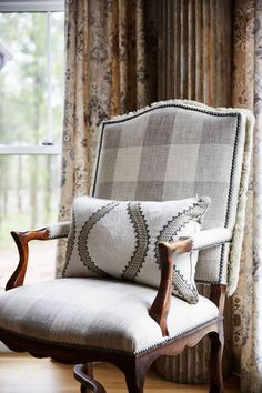 Fringe around edge buffalo plaid chair. Chair Upholstery, Chair Fabric, Sofa Chair, Upholstered Chairs, Bergere Chair, Armchair, French Country Fabric, French Country Living Room, French Living Rooms