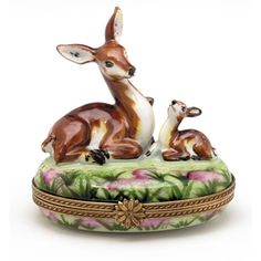 Deer with Fawn Limoges Box