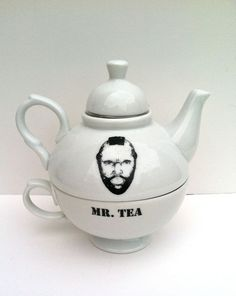 I pity the fool who doesnt own a Mr. Tea set!    This is a ceramic tea-for-one set with an image of Mr. T on the pot and the words Mr. Tea on the