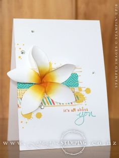 The Festive Flower Builder Punch was used to create the Frangipani flower for this card. Who knew that the same punch that created a gorgeous Poinsettia can also create a beautiful tropical flower? http://www3.stampinup.com/ECWeb/ProductDetails.aspx?productID=139682&dbwsdemoid=4002741   www.creativestamping.co.nz   Stampin' Up!   2015-16 Annual Catalogue   2015 Holiday Catalogue