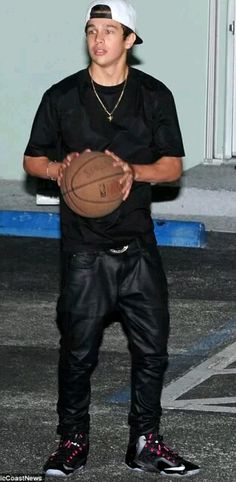 Austin playing basketball