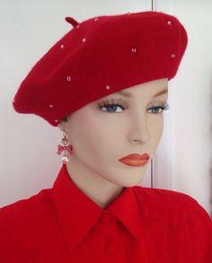 LADIES SCARLET RED FAUX RHINESTONE VINTAGE FRENCH STYLE WOOL BERET HAT