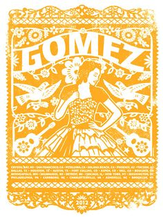 Gomez The Band Main Yellow Tour 2012 Quinceanera Silk by gigart, $30.00