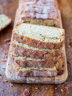 Cinnamon-Sugar Crust Cinnamon-Ribbon Bread 1/3 c sugar 1T cinnamon 1/4 c melted butter 1 lg egg 1 c lt brn sugar 1/4 c oil 1 T vanilla 1 c buttermilk 2 c flour 1 t nutmeg 3/4 t bak soda pinch salt