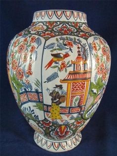 Delft polychrome vase with chinoiserie decoration- Dutch (Die Vergulde Blompot factory), mid to late 18th century