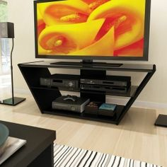 Black Tv Stand Flat Screen 60 Inch Television Entertainment Center New Dlp 52 30