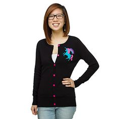 A 7-button cardigan, this black, 100% cotton sweater features an 8-bit unicorn design in cyan, hot pink, and purple.