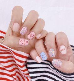 Diy Nails Cute, Cute Spring Nails, Spring Nail Art, Cute Acrylic Nails, Glue On Nails, Pretty Nails, Gel Nails, Pastel Nails, Cartoon Nail Designs