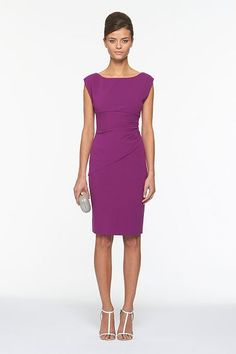 Jori Dress - In Purple. A classic DVF silhouette in the color of the season, the Jori is the perfect work to cocktails solution. Pair with the Plaxico jacket for a more polished work look. With high waist and side ruching. In DVF EXCLUSIVE colors