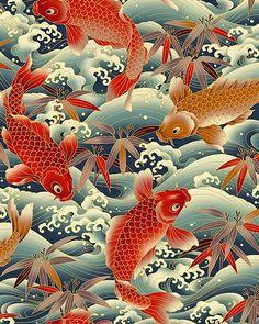 Fabric with koi pattern Japanese Textiles, Japanese Patterns, Japanese Fabric, Japanese Prints, Japanese Design, Japanese Koi, Japanese Embroidery, Japanese Style, Koi Art