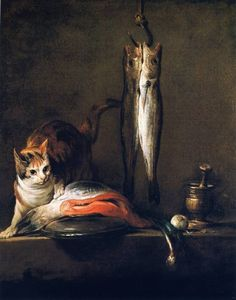 Jean-Baptiste-Siméon Chardin, Cat with Salmon, Two Mackerel, Pestle and Mortar, 1728; Museo Thyssen-Bornemisza -Madrid