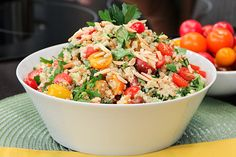 Gluten-free quinoa salad with creamy tahini dressing.