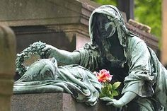 Rest in peace ... Pere Lachaise cemetery features works of art and eloquent gestures on tombs.