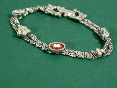 Vintage Goldette Charm Bracelet Double Strand with Five Elegant Charms SIGNED