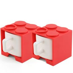 cube mug mini red set of two -- gattola
