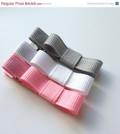 ON SALE Baby Hair Clip- Alligator Clip - Grey, White, Pink - Non Slip Grip -Girls, Babies, Toddlers