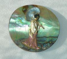 Ancien Gros Bouton EN Nacre Femme Asiatique EN Relief | eBay