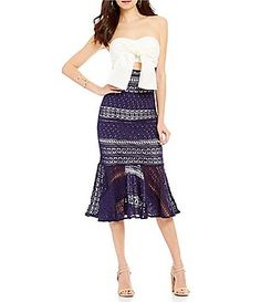Gianni Bini Leah Fluted Lace Skirt Sheath Dress