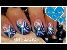 Blue diamond nail art