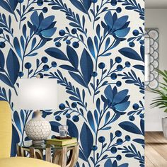 Keper Removable Flowers Leaves L x W Peel and Stick Wallpaper Roll-Bungalow Rose Keper Removable Flowers Leaves L x W Peel and Stick Wallpaper Roll Vinil Wallpaper, Wallpaper Panels, Bathroom Wallpaper, Self Adhesive Wallpaper, Wallpaper Roll, Peel And Stick Wallpaper, Wallpaper Murals, Accent Wallpaper, Wallpaper For House