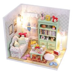 New DIY Dollhouse Miniature Kit with Cover LED Light Wood Toy Dolls House Room | eBay