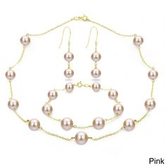 DaVonna 18k Gold over Tin Cup Freshwater Pearl 3-Piece Jewelry Set