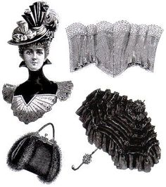 Hat, corset, fur bag, parasol - all very fine and Victorian