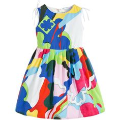 Younger girls rainbow coloured dress by Simonetta. This bold and beautiful print has a strong colour palette, including blue, green, red, yellow, pink and white. Made in smooth cotton poplin, it is sleeveless, with a fitted bodice and a full, gathered skirt.  The shoulders are embellished with white ribbons and a waist ribbon that ties in a bow at the back. There is a back zip fastening and it is fully lined, with tulle petticoats that add volume and fullness.<br /> <ul> <li>100% cotton...