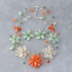Jade and Carnelian Floating Flower Jewelry Set