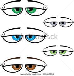 Set of assorted seductive female cartoon vector eyes.