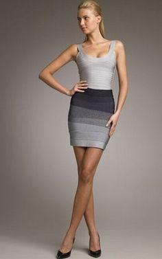 Herve Leger outlet Ombre Miniskirt Bandage Dress grey