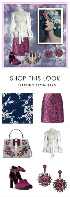"""""""Happy Holidays!"""" by yaschy ❤ liked on Polyvore featuring Lanvin, Gucci, Hillier Bartley, Bavna and partydress"""