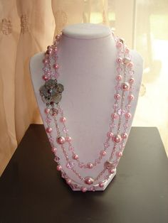 Baby Pink Pearl and Crystal NecklaceFREE SHIPPING by Sudzgifts, $32.00