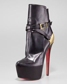 Christian Louboutin Equestria Heel-Plate Red Sole Bootie - Neiman Marcus | | via shoe Porn on Facebook ||| Bad@ss!!