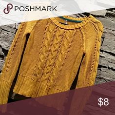 Cable Knit Gold Sweater Cable Knit Gold Sweater, in very good condition!?? It's perfect for this time of year and bring you right into the winter. This is a re-posh, ?? I was looking forward to wearing it myself, but it was to small. It says M but definitely a S. max Sweaters Crew & Scoop Necks