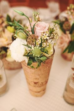 rustic woodland wedding flowers in birch vases
