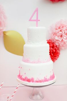 Pink Strawberry 4th Birthday Party - Kara's Party Ideas - The Place for All Things Party