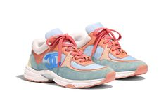 Sneakers - Coral, Light Blue & White - Nylon, Lambskin & Suede Calfskin - Alternative view - see standard sized version Chanel Sneakers, Blue Sneakers, Chanel Shoes, Sneakers Fashion, Fashion Shoes, Shoes Sneakers, Shoes Heels, Baskets, Chanel Cruise