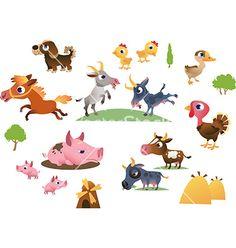 Set of cartoon farm animals Royalty Free Vector Image , Cartoon Cow, Cartoon Dragon, Cartoon Dinosaur, Black Cartoon, Cute Cartoon, Dog Vector, Free Vector Images, Vector Free, Felt Puppets
