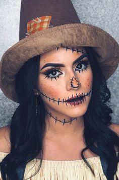 Looks Halloween, Halloween Costumes Scarecrow, Scarecrow Makeup, Cute Halloween Makeup, Halloween Outfits, Halloween 2019, Halloween Ideas, Halloween Nails, Vintage Halloween