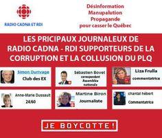 Simon Durivage, Sébastien Bovet, Liza Frulla, Anne-Marie Dussault, Martine Biron, Chantale Hébert Les journaleux de RDI / Radio Cadna