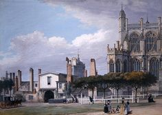 St George's Chapel, Windsor, and the entrance to the Singing Men's Cloister, c.1768 (gouache on paper) by Paul Sandby