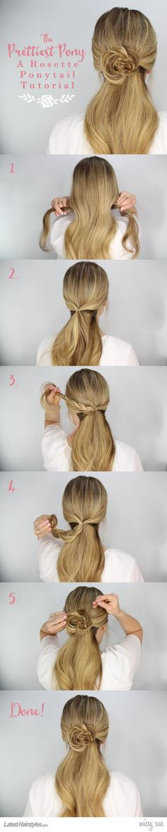 Rosette Embellished Ponytail Tutorial-so beautiful