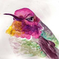 Hummingbird watercolor, bird watercolor, hummingbird art, bird art print by Paula Prass, available in 5x5, 6x6 or 8x8 fine art print ($13) found on Polyvore featuring home, home decor, wall art, colorful wall art, watercolor wall art, unframed wall art, hummingbird wall art and target wall art