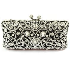 Abless Kisslock Purse Heart Pattern Bling Rhinestone Crystal Evening Clutch Bags ** Visit the image link more details.