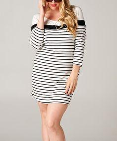 Loving this Black & White Bold Stripe Scoop Neck Dress - Plus on #zulily! #zulilyfinds