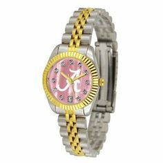Alabama Crimson Tide Executive Ladies Watch with Mother of Pearl Dial by SunTime. $171.00. Calendar Date Function. Safety Clasp. Stainless Steel Case. 23kt Gold Plate Bezel. Two-Tone Solid Stainless Steel Band. The ultimate Alabama Crimson Tide fan's statement, our Executive timepiece offers men and women a classic, business-appropriate look. Features a 23KT gold-plated bezel, stainless steel case and date function. Secures to your wrist with a two-tone solid stainless steel...