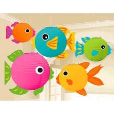Fish Paper Lanterns Set the stage for a great summer party or luau with these beautiful paper wire frame fish lanterns that are perfect as hanging decorations Package includes 5 fish lanterns that measure 5 7 and Fish Lanterns, Paper Lanterns, Noahs Ark Theme, Hawaiian Party Decorations, Paper Fish, Ocean Party, Luau Party, Sleepover Party, Fiesta Party